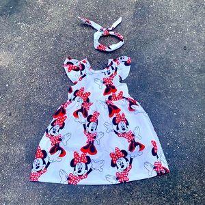 Disney Minnie Mouse  dress with matching headband